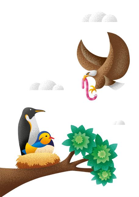 Pinguin on a tree